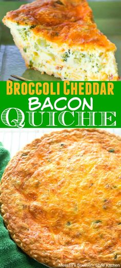This cheesy Broccoli Cheddar Bacon Quiche takes brunch to a whole new level. The smoky undertones the bacon gives to the egg custard makes it irresistable. Quiches, Breakfast Dishes, Breakfast Recipes, Breakfast Quiche, Breakfast Items, Breakfast Casserole, Filet Mignon Chorizo, Broccoli Quiche, Broccoli Casserole