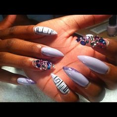 STILETTO NAILS / NAIL DESIGNS / ACRYLIC NAILS / RHINESTONES / NAIL ART / FINGERNAIL | http://awesome-creative-nails-ideas.blogspot.com
