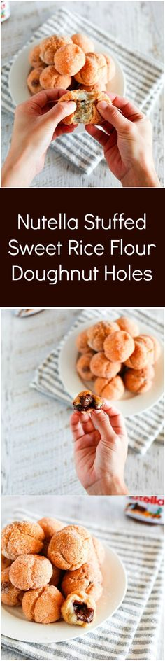 Nutella Stuffed Mochi Doughnut Holes - Outside is crunchy but inside is sticky like mochi rice cakes and gooey! | MyKoreanKitchen.com