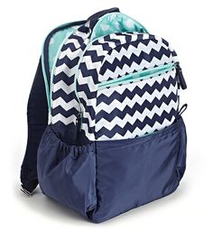 Mint Condition Backpack by Studio C.  Chevron, Navy and Mint.  A perfect colorway for Back to School!  #chevron #backtoschool #mint