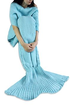 iEFiEL Sky Blue Handcrafted Knitted Mermaid Tail Blanket Sleeping Bag for Adult