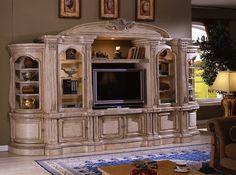 Large White Ornate TV Entertainment Center Wall Unit Tv