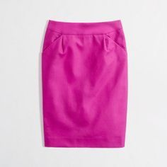 "J. Crew TALL PENCIL SKIRT IN DOUBLE-SERGE COTTON Great condition and fun pink color suitable for work. All offers considered! Use the offer button :) see below for the specs! ❤️❤️❤️❤️                                    Cotton. Sits at waist. 24 1/2"" long. Back zip. Back vent. Dry clean. J. Crew Skirts Pencil"