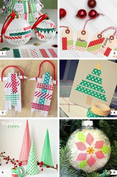 Washi tape Christmas crafts - Washi Tape Tree pattern - to use on brown paper or other single-colored gift bags.