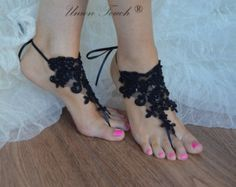 free ship black bridal anklet black Beach wedding by UnionTouch Barefoot Sandals Wedding, Beach Wedding Shoes, Beach Shoes, Beach Sandals, Blue Sandals, Bare Foot Sandals, Lace Weddings, Wedding Lace, Bridal Accessories