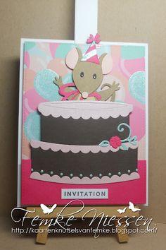 Made by Femke Niessen: peek a boo mouse. Interactive birthday cake.