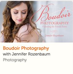 Capture gorgeous images that celebrate your client's sensuality with professional photographer Jennifer Rozenbaum as your guide. Learn how to collaborate with your client to develop a styling concept, and discover flattering wardrobe and makeup recommendations to match. Master lighting for boudoir photography with simple setups that complement three photo-shoot themes: sexy, romantic and edgy. Save with my #afflink: http://craftsy.me/2ld2UVl