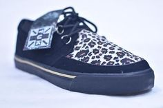 TUK BLACK SUEDE LEOPARD CREEPER SNEAKERS # A6142 MENS US 12 EUR 45  NOS PUNK