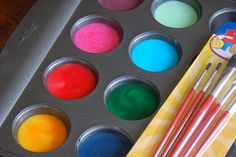 edible cookie paint: egg yolk 1/4tsp evaporated milk and food coloring, paint before baking.  Recipe for after baking also in post.
