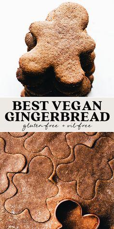 Vegan Gingerbread Cookies, Vegan Christmas Cookies, Vegan Christmas Desserts, Cookies Sans Gluten, Sugar Cookies Recipe, Vegan Gluten Free Cookies, Vegan Dessert Recipes, Vegan Sweets, Vegan Baking Recipes