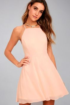 #Lulus - #Lulus Lulus - Letter of Love Blush Pink Backless Skater Dress - Size X-Large - 100% Polyester - AdoreWe.com