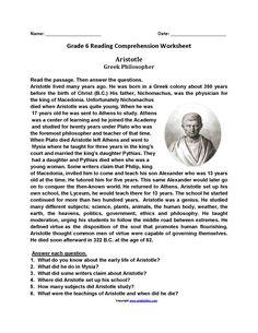 Free Printable Reading Worksheets For Grade 6 – Letter Worksheets Sixth Grade Reading, Reading Test, Reading Levels, Reading Response, Free Reading, Teaching Reading, Learning, 6th Grade Worksheets, Language Arts Worksheets