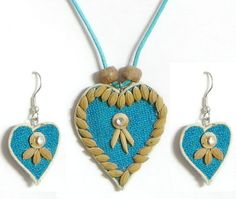Blue Corded Heart Pendant and Earrings Decorated with Off White Wooden Beads and Paddy Rice (Rice Grains and Wooden Beads))