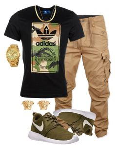 """""""Closer"""" by malkia-ky ❤ liked on Polyvore featuring G-Star Raw, NIKE, adidas Originals, Gucci, Michael Kors, Versace, gold, adidas, versace and camo"""