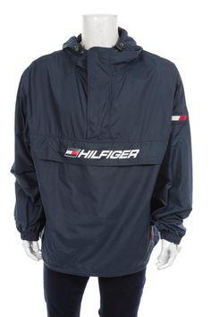 b193316aa Tommy Hilfiger Windbreaker jacket 1 4 zip Pullover Flag Logo Spell Out Navy  Blue Size