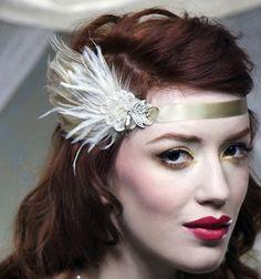 CHAMPANGE Silk and Feather Headband