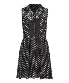 This Black & White Polka Dot Sleeveless Dress is perfect! #zulilyfinds