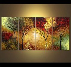 Large Landscape Abstract Painting Textured Forest Painting Blooming Trees Painting Original by Osnat Canvas Painting Landscape, Forest Painting, Landscape Art, Forest Landscape, Painting Trees, Forest Art, Knife Painting, Painting Art, Watercolor Painting