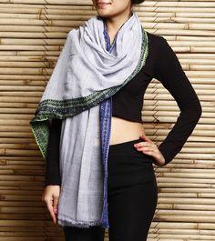 Grey & Blue Khadi Cotton Hand Woven Dupatta