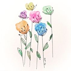 Watercolor Projects, Watercolor Cards, Watercolor And Ink, Watercolour Painting, Watercolor Flowers, Painting & Drawing, Watercolors, Paint Cards, Flower Doodles