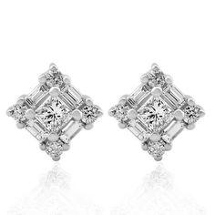 14k White Gold Round, Baguette, Princess Cut Diamond Earrings Studs (GH, I1-I2, 0.52 carat) on http://jewelry.kerdeal.com/14k-white-gold-round-baguette-princess-cut-diamond-earrings-studs-gh-i1-i2-0-52-carat