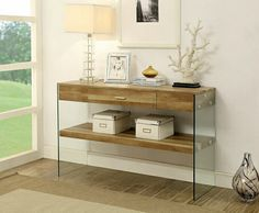 "Raya collection natural tone wood and glass sofa console entry table .  Measures 47"" x 16"" x 30"" H. Some assembly required."