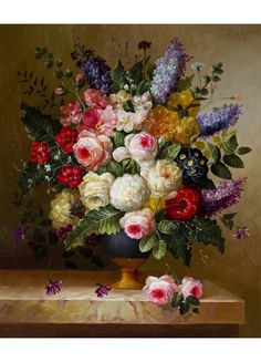Flowers painted in a beautiful botanical still life. Find this painting on our site.