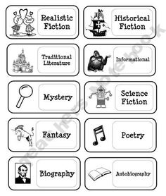 Genre Book Basket Labels, need to make something similar with more colour.for when I have a classroom library! Book Basket Labels, Book Labels, Book Baskets, Reading Genres, Reading Strategies, Reading Comprehension, Elementary Library, Class Library, Teaching Reading