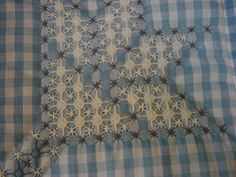 gingham embroidery flower motif