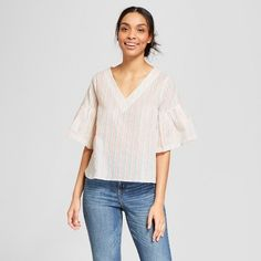 Women's Striped Ruffle Sleeve Shine Blouse - A New Day™ Cream : Target