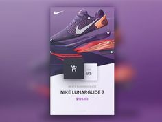 Lunar glide shopping card By Brett #nike #nikerun #running #run #free #ecommerce #sneakerhead #sneakers #mobilepatterns #design #uxdesign #uidesign #appdesign #digital #interface #mobile #application #ux #ui #app #userinterface #materialdesign #instaart #