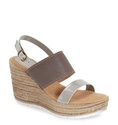 Grey wedge sandals