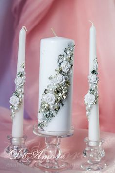 Silver and Pearl wedding unity candlesunique wedding by DiAmoreDS