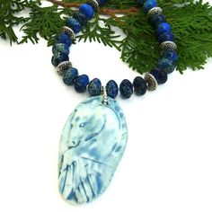 #Spirit #Horse Pendant #Necklace, Blue Sea Sediment Jasper #Gemstone Artisan #Handmade #Jewelry  by @shadowdog  #ShadowDogDesigns #indiemade $115.00