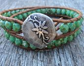 Teal Green Bracelet, Leather Wrap Bracelet, wraps 2X, Weathered Stone Beads, Rustic, Bohemian, sea foam green, green and brown