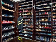 Favier-Meyer's dressing room contains some of her 400 pairs of shoes; the coat is from Christian Dior's autumn/winter 2015 ready-to-wear collection | archdigest.com