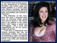 17th August 1998 - Bill Clinton confesses to a relationship with Monica Lewinsky