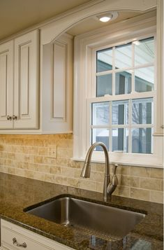 Refinished Kitchen Cabinets - Home and Garden Design Ideas (this is close to what our cabinets would look like if we painted them...same granite, similar backsplash)