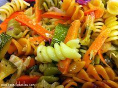 Receita de Macarrão colorido com legumes