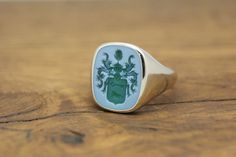 CUSTOM CUSHION SIGNET RING, STONE 16x13 MM  Custom Cushion Signet Ring with hand engraved Semi Precious Gem Stone, size 16x13mm. The stone can be Custom Signet Ring, Ring Bear, Gold Rings, Gemstone Rings, Custom Cushions, Monogram Initials, Coat Of Arms, Hand Engraving, Fine Jewelry