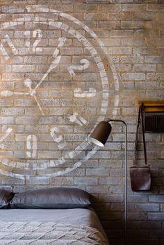 Industrial Room Inspiration Unique Paint Techniques on brick washed technique chalk painted walls Painted Walls, Paint Techniques, Chalk Paint, Room Inspiration, Brick, Wall Lights, Industrial, Create, Unique