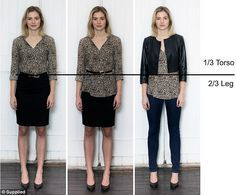 Rule of thirds: Colette's Ratio System works with a 1/3 torso to 2/3 leg rule, created by outfit tricks such as tucking a shirt into a high waisted skirt, cinching a loose top at the waist, or wearing a cropped jacket