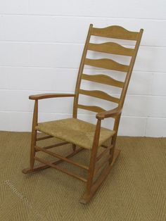 A Cotswold School oak rocker after a design by Gimson. The craftsman maker is unknown. This rocker has a slightly taller back, with an additional spla Conservatory Furniture, Rocking Chair, Craftsman, Antiques, School, Vintage, Design, Home Decor, Chair Swing
