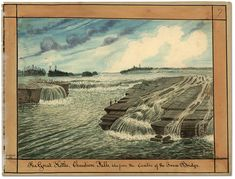 Watercolour: The Great Kettle, Chaudiere Falls; taken from the Centre of the Truss Bridge, 1831 Ottawa, Kettle, Watercolour, Bridge, Old Things, Fall, Painting, Pour Over Kettle, Pen And Wash