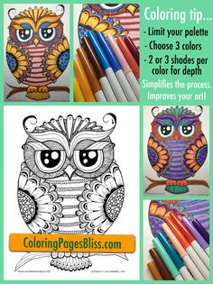 Coloring for adults and grown ups. How to improve your coloring: This is my favorite coloring tip I like to share with anyone who asks, so I thought I'd share it with my Pinterest friends. This one tip has truly made coloring a more blissful experience for me. I love how it has improved my art. Let me know if it helps you too. This charming owl is available as a printable coloring page for download as a PDF on my website.