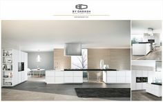 A contemporary white kitchen with a pop of black creates a modern interior. Sold by @bydarash