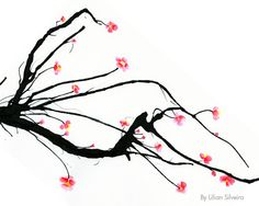 Cherry Blossom, Art Print, Zen, Branch, Pink, Ink, Drawing, Watercolor, 8x10