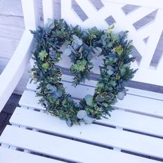 Green heart shaped wreath - for inside or outside decoration. Perfect for christmas and winter!
