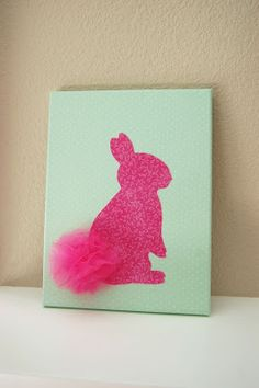 Pinkie for Pink: DIY Bunny Canvas Decor The idea of this is cute Glitter Canvas, Diy Canvas, Diy Arts And Crafts, Fun Crafts, Craft Night, Button Art, Craft Party, Easter Crafts, Diy Painting