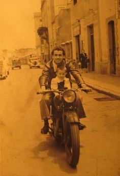 Father and son on a cool bike, Asmara, Eritrea, 1955